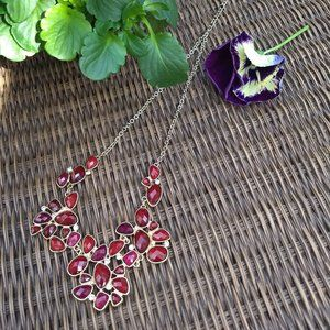 red faceted 'crystals'  gold necklace